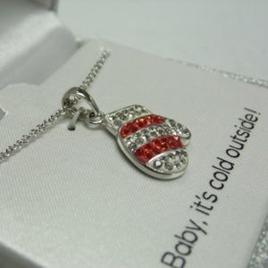 """Jewelry - Silver Plated Crystal Mitten Necklace - 18"""" Long"""